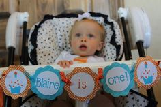 """It's a great idea to decorate the """"chair of honor"""" for all the cake photos at baby's first birthday. They won't stay clean long of course! For party ideas for Baby's 1st birthday and more celebrations visit YouCanPlanAparty.com"""