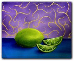 Still Life Original Food Paintings Hand Painted Green by BingArt