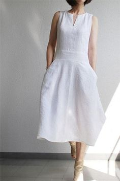 white linen dress for women, summer sleeveless linen dress R019
