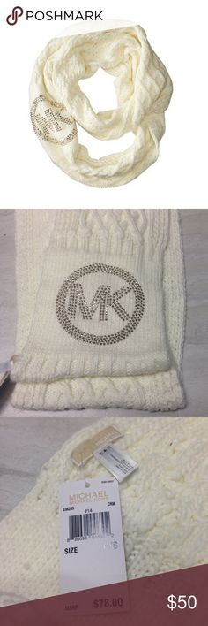 """Michael Kors Cable Knit Infinity Loop Scarf NWT This gorgeous MK scarf comes brand new with the original tags attached and was originally sold for $78. It's made of a beautiful, luxurious, cream-colored material and has gold stud accents. If you have any questions, please let me know!  🚫NO trades.🚫 ✅Feel free to make me an offer! Please note that I only consider reasonable offers that are made through Poshmark's """"Offer"""" feature.✅ Michael Kors Accessories Scarves & Wraps"""