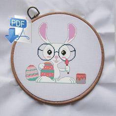Easter cross stitch pattern, Spring Cross Stitch, bunny cross stitch, animal cross stitch, Funny Cross Stitch Patterns, digital, pdf