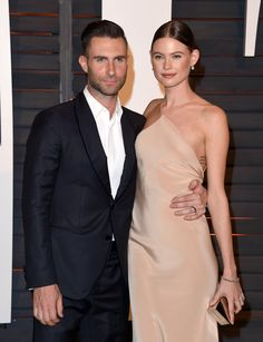 Adam Levine and Behati Prinsloo at the Vanity Fair Oscar Party in Los Angeles on Feb. 22, 2015