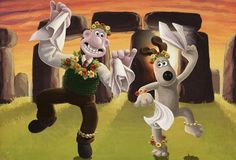 Wallace and Grommit... morris dancing, Cotswold style.