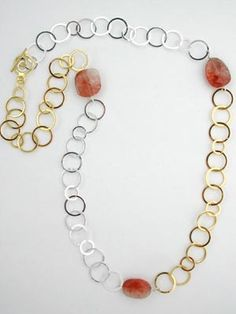 sunstone and chain necklace
