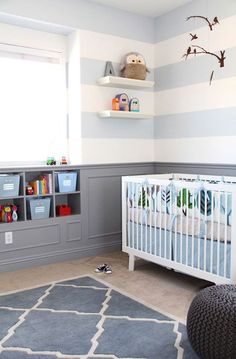 how to get this look: add wainscotting and trim to lower half of wall, paint trim, wall (below wainscotting) and baseboards the same color!! Love this! It's Vs bedding he already has. Possibility if we have another boy :)