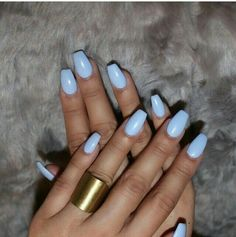 Coffin nails are a popular shape for women who like to attract people's attention with their extraordinary appearance. Coffin nails are usually very long, but the shape of short nails is also very good! We found 30 Impressive Short Coffin Nails Des Acrylic Nails Light Blue, Blue Coffin Nails, Matte Nails, Gel Nails, Nail Polishes, Baby Blue Nails, Acrylic Nail Designs, Nails Inspiration, Nail Colors