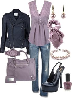 Love the color purple and jacket is really cute. Shoes I would prefer wedges ..Love the outfit