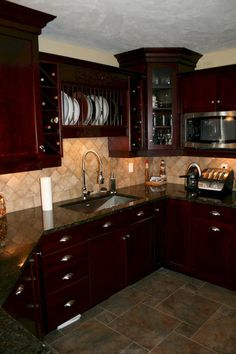 92 Amazing Kitchen Backsplash Dark Cabinets - Page 11 of 94 Kitchen Room Design, Kitchen Cabinet Design, Home Decor Kitchen, Kitchen Interior, Home Kitchens, Kitchen Designs, Kitchen Ideas, Backsplash With Dark Cabinets, Rustic Kitchen Cabinets