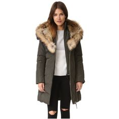 Mackage Trish Coat (18775150 BYR) ❤ liked on Polyvore featuring outerwear, coats, army, feather coat, mackage coats, down filled coats, army coat and fur-lined coats