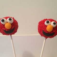 Idea for dessert, Elmo cake pops.