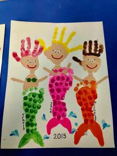 ideas for baby art footprint fun Kids Crafts, Daycare Crafts, Summer Crafts, Baby Crafts, Toddler Crafts, Crafts To Do, Arts And Crafts, Hand Kunst, Mermaid Crafts