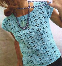 To Fit Bust Size: 34 - 4 Ply Yarn. This is a PDF file ONLY of the original pattern bo Pull Crochet, Gilet Crochet, Crochet Cardigan, Easy Crochet, Knit Crochet, Crochet Designs, Crochet Patterns, Summer Wear For Ladies, Crochet Summer Tops