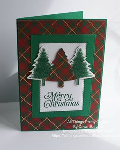 Perfectly Plaid I love this new suite from Stampin' Up! I have used the wrapped in plaid designer series paper and the perfectly plaid stamp and punch bundle. Homemade Christmas Cards, Stampin Up Christmas, Christmas Cards To Make, Plaid Christmas, Xmas Cards, Homemade Cards, Handmade Christmas, Holiday Cards, Christmas Crafts