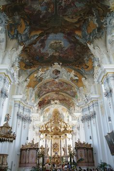 Saint Paulinus' (German: St. Paulinskirche) is a Baroque church in the city of Trier, Germany. Constructed between 1734 and 1753, the interior was designed by Johann Balthasar Neumann. The ceiling of the nave features a painting by the artist Christoph Thomas Scheffler. The tomb of the saint after whom the church is named, Paulinus of Trier, is located in the church's crypt, ((by Karyatis, via Flickr)
