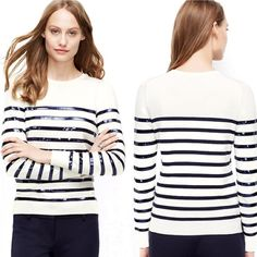 PRICE⬇️Host Pick!AnnTylr Sequin Nautical Sweater Bands of sequins add sensational sparkle to this incredibly soft and versatile cotton modal sweater. Crew neck. Long sleeves. Ribbed cuffs and hem. 55% cotton, 25% modal, 20% polyester. Hand wash, lay flat to dry. Color: white with navy blue sequins and stripes. Like new condition! MSRP: $89.50- take advantage of this great price!!!  Ann Taylor Sweaters