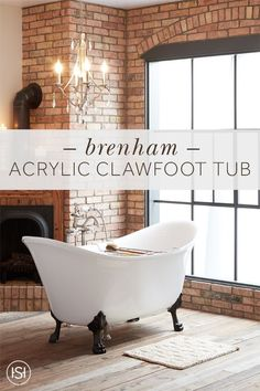 Enjoy a long, luxurious soak in the Brenham Clawfoot Tub from Signature Hardware. The regal lion paw feet elevate the tub and create the classic clawfoot design. Rustic Chic, Rustic Farmhouse, Industrial Farmhouse, Rustic Decor, Lion Paw, Virginia Homes, Little Cabin, Dream Bathrooms, Florida Home