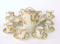 Chocolate Pot Set: Romantic Handpainted Bavarian Porcelain, Artist Signed Valentines Day 1944