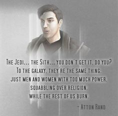 My favorite quote from Star Wars KOTOR II from my favorite character in the series. Atton <3