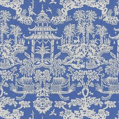 Fabric Details on Front: Brunschwig & Fils Chinoiserie Fabric Content: Linen/Nylon Colorway: Blue/White Back: Ivory Linen Finishing: Invisible Blue And White Fabric, Blue Fabric, Linen Fabric, Lhasa, Blue Home Decor, White Decor, Fabric Wallpaper, Pattern Wallpaper, Chinoiserie Fabric