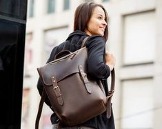 Backpack brown leather Laptop bag | Etsy Brown Leather Laptop Bag, Leather Backpack For Men, Women's Mini Backpack, Laptop Backpack, Cowhide Leather, Leather Men, Carrie, Monogram Backpack, Brown Backpacks