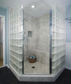 Large Neo Angle shower with glass block and tile Shower Remodel, House Bathroom, Bathroom Redesign, Bathroom Interior Design, Glass Blocks, Remodel, Bathroom Design Inspiration, Bathroom Renovations, Bathrooms Remodel