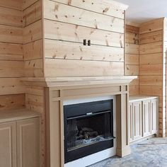 Shiplap fireplace idea - and wrap the mantel all the way around! Good idea... for more décor storing! I DON'T like the part around the fireplace/fire or I don't like the built in's.