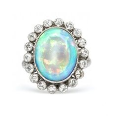 oval opal cocktail ring / trumpet & horn