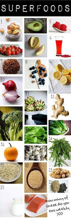 24 healthiest foods. {edited my me to say i don't care to see milk listed. Almond milk yes....coconut milk yes...but not cows milk}