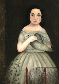 Young Girl with Dove by Anne Childs (contemporary), works in primitive style, self-taught (Women In Art History)