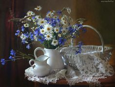 Kwiaty, Kosz, Margerytki, Dzbanki, Chabry
