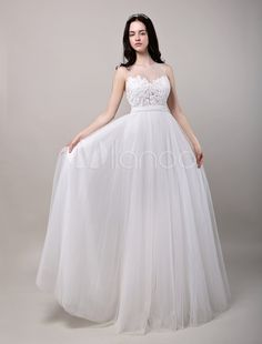 Robe mariage A-ligne tulle ivoire dentelle col rond
