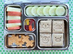 PlanetBox school lunch - square animal face sandwiches, cucumber slices, apple slices, organic gummy bears, puzzle piece crackers (I love these sandwich cutters/stamps! Lunch Box Recipes, Lunch Ideas, Bento Ideas, Planet Box, No Waste, Sandwiches, Lunch Containers, Banana Nut, Recipes