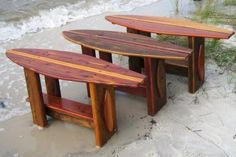 Surfboard tables!!!!    @Brandon Troutman  I thought you would like this.