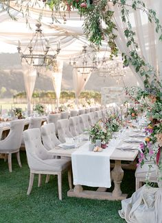 La Tavola Fine Linen Rental: Tuscany White Table Runners with Tuscany Natural Napkins | Photography: Jose Villa Photography, Event Planning & Design: Joy Proctor Design, Floral Design: Amy Osaba, Vintage Furniture & Decor: Barn Relic, Tables, Chairs & Chandeliers: Revelry Event Designers, Lanterns & Votives: Theoni Collection