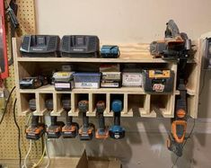 Is your workbench a mess with drills, chargers, batteries, screws? This is a per… – Garage Organization DIY Power Tool Storage, Garage Tool Storage, Garage Tools, Power Tools, Garage Signs, Garage Shop, Car Garage, Nut And Bolt Storage, Power Tool Organizer