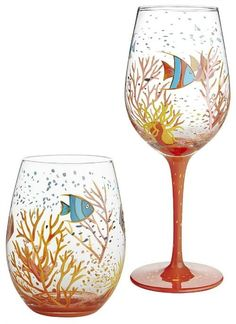 Colorful Painted Wine Glasses with Underwater Ocean Scene (Bottle Painting Ocean) Diy Wine Glasses, Hand Painted Wine Glasses, Painted Wine Bottles, Glass Bottles, Tropical Wine Glasses, Wine Bottle Art, Wine Glass Holder, Wine Glass Crafts, Wine Bottle Crafts