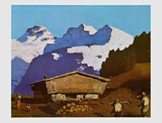 Farm in Tyrolian Mountains Travel Art Print - 50 x 38 cm Mountain Art, Mountain Landscape, Landscape Art, Landscape Posters, Kunst Online, Mountain Paintings, Museum, Cool Posters, Prints For Sale