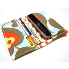 Items similar to Smart Phone Wallet Or Cell Case in Blue, Gray, and Red Floral Print Fabric on Etsy Weekend Crafts, Sewing To Sell, Floral Print Fabric, Phone Wallet, Cute Bags, My Bags, Stocking Stuffers, Leather Wallet, Blue Grey
