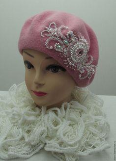 """Купить берет с вышивкой бисером """"Княгиня"""" розовый - розовый, однотонный, берет, берет шерстяной"""