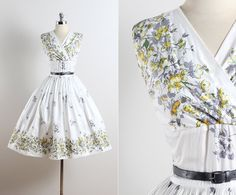 Prospect Park . vintage 1950s dress . 50s floral cotton dress . 5673
