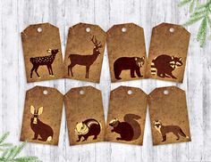 Woodland Animals Gift Tags printable rustic hang by VizualStorm