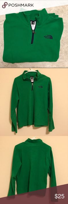 The North Face Fleece 1/4 Zip Pullover Kelly Green North Face Fleece 1/4 Zip Pullover. Perfect for St. Party's day! Cared for well, smoke free home. Boys XL but can also fit a women's small/medium well! The North Face Shirts & Tops Sweatshirts & Hoodies