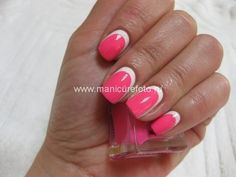 manicure in pink and white.
