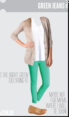 Green jeans outfit- have the jeans