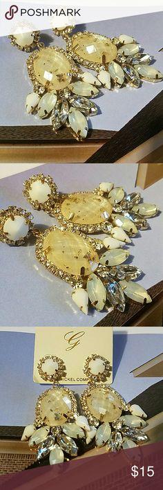 "Beautiful Crystal & Bead Earring These beautiful earrings measure 1"" wide with a 3"" drop Jewelry Earrings"