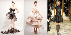 Marchesa甚是喜愛以剪紙藝術作為設計元素。(左、中:2011春夏,右:2012秋冬)