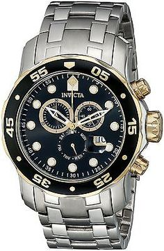 Invicta Mens Pro Diver Scuba Swiss Chronograph Black Dial Stainless Steel Bracel