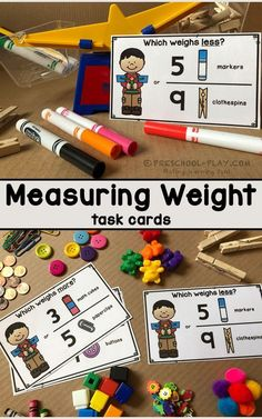 Mathematics - Functions · Measurement · Geometry · Reasoning Measuring weight task cards for preschool, pre-k, and kindergarten. Part of a Mathematics (Functions · Measurement · Geometry · Reasoning) Center Activities packet. Measurement Kindergarten, Measurement Activities, Math Measurement, Pre K Activities, Math Classroom, Kindergarten Activities, Preschool Activities, Math Games, Center Ideas For Kindergarten