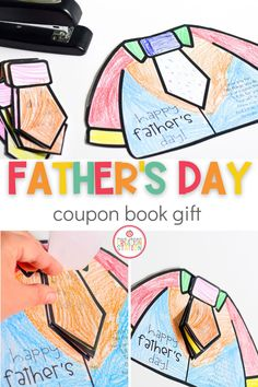Let your little ones spoil their dad with this Father's Day coupon book! Simply think of all the things you dad does around the house, write that on each tie, stable and present! Give Dad a break for Father's Day! #fathersdaygifts #fathersday #preschool #kindergarten Kindergarten Homeschool Curriculum, Kindergarten Art Projects, Kindergarten First Day, Preschool Kindergarten, Classroom Resources, Homeschooling, Bubble Activities, Father's Day Activities, Summer Activities For Kids
