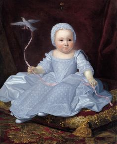 French School, second half of the 18th Century. Portrait of a Princess Dressed in White with a Dove Oil on canvas, 90 x 70 cm.